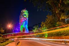 Sentosa Merlion, Singapore (KSAG Photography) Tags: singapore asia statue lighttrails night urban city travel hdr merlion