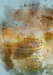 Gone Fishing (ROPhoto77) Tags: sunrise lobsterboat manipulated digitalphotograph watercolor river painterly