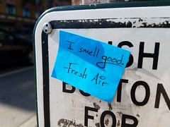 Day 229: A Message From Fresh Air (quinn.anya) Tags: freshair stickynote smell berkeley crosswalk day229 525600minutes