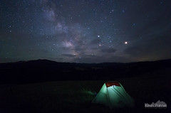 Good Night (kevin-palmer) Tags: summer night sky stars starry astronomy astrophotography tent campsite camping milkyway mars saturn bighornmountains bighornnationalforest littlegoosecanyon clouds light pentaxk5 samyang10mmf28 july grass meadow blacktoothmountain wyoming