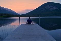 vermillion lake banff canada (Anne Oldfield) Tags: vermilionlake banff canada summer chilling lake trees sunset roadtrip landscape mountains beautiful tranquil peaceful relaxing relax dock water reflection clouds waterscape love 2016
