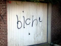 BICHT (Quetzalcoatl002) Tags: bitch illiteracy kids graffity youth garage door funny zuidoost amsterdam suburb