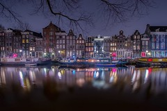 Boats and houses (karinavera) Tags: travel nikond5300 night streeet urban amsterdam colors canals houses boat cityscape longexposure city