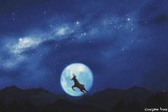 The king of the hills.  (gusdiaz) Tags: photoshop photomanipulation digital art mountains sky clouds stars deer stag estrellas naturaleza venado hermoso montaas arte artistico moon luna otoo fall