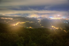 ~DAWN~ (PS~~) Tags: travel pink light mountain color fog night clouds sunrise canon landscape photography dawn view taiwan valley taipei rays nightview temperature    nightcity                     taipeifogclouds