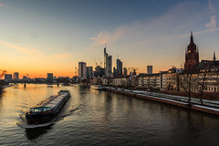 Frankfurt - Skyline (cfaobam) Tags: bridge blue light orange reflection water yellow skyline architecture night skyscraper canon reflections river germany deutschland lights evening am europe long exposure european cityscape hessen slow frankfurt main tripod central bank hour highrise banks commerzbank ecb deutsche hesse langzeitbelichtung mainhattan ezb blauestunde eos650 zentralbank deutschherrnufer europische bankfurt deutschherrnviertel cfaobam