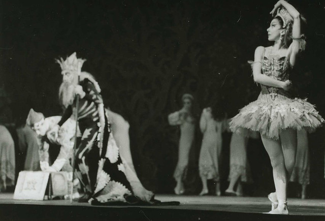 Michael Somes as Ivan Tsarevitch, Frederick Ashton as The Immortal Kostchei and Margot Fonteyn as The Firebird in the Sadler's Wells Ballet production of The Firebird © The Roger Wood Photographic Collection/ROH Collections, 1956