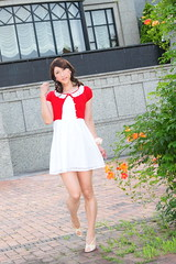 day238-04 red mini cardigan & white race onepiece (Yumiko Misaki) Tags: red white race mini crossdressing transgender transvestite crossdresser cardigan day232 day238 day239 transsexsual lodispotto opepiece