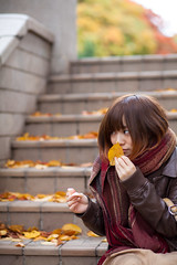 Kaho (takasuii) Tags: autumn portrait people woman fall girl japan female canon asian japanese tokyo 85mm 5d2 5dmark2 lovedslr