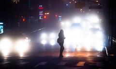 dear in a headlights. (Vitaliy P.) Tags: new york city nyc morning woman cars silhouette fog night high nikon boulevard zoom candid headlights iso queens gothamist outline 70300mm ff 4000 d600 vitaliyp