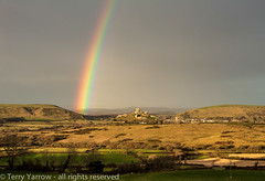 Rainbow over Corfe (Terry Yarrow) Tags: uk light england canon landscape evening coast rainbow dorset possibles corfecastle eos5d