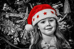 Merry Christmas (Darren Frodsham) Tags: christmas xmas red bw canon holidays seasonal colorsplash coloursplash 550d darrenfrodsham lilymaysinclair
