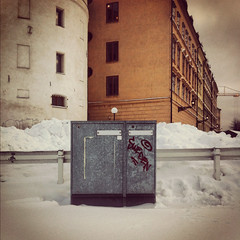 Sweden (Olly Denton) Tags: winter snow cold metal architecture buildings graffiti sweden stockholm iphone instagram