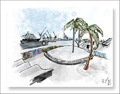 Hamburger Hafen - Palmen (rafaelmucha) Tags: schnee winter art illustration digital sketch drawing hamburg hamburger hafen wacom schiff elbe palmen intuos inkling