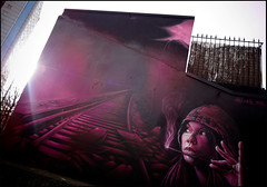 Alex + Seyb (Chrixcel) Tags: light woman sun alex train graffiti soleil mac lumière femme rail graff fleamarket feu fresque décor allumette puces stouen contrelumière seyb