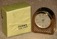 "Vintage Mechanical Wind ""Florn"" Brass Music Alarm Clock, Made in Germany (France1978) Tags: vintageclock florn musicalarmclock"
