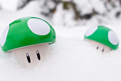 Week 52 - 2-Up (giantmike) Tags: winter snow cold toy mushrooms bokeh nintendo mario games videogames 1up supermario