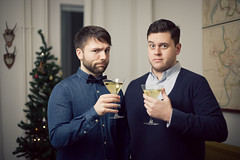 Happy New Year from Berlin (David O. Andersen) Tags: christmas portrait tree berlin home canon 50mm drink champagne flash nye hipster bowtie guys newyear antlers livingroom celebration cheers 5d dudes 2012 unimpressed 2013 strobist popchampagne