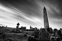 round tower and graveyard (zip po) Tags: longexposure sky blackandwhite tower graveyard mono zippo ardmore countywaterford