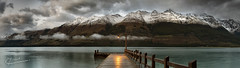 Cast A Light (Tim Poulton) Tags: new travel sunset lake snow mountains water clouds sunrise pier nikon jetty panoramic zealand queenstown peaks glenochy