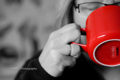 I Need Coffee  **Explored** ({Andrea}) Tags: red coffee 50mm mug day3 selfie selectivecolour odc niftyfifty canoneos50d day3365 52weeksproject week1theme 3652013 365the2013edition 03jan13