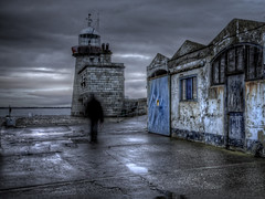 The Pier (janetmeehan) Tags: ireland winter dublin irish lighthouse color water clouds landscape pier harbour dusk streetphotography atmosphere aged bluehour hdr dublinireland candidphotography