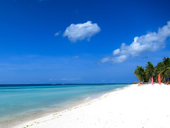Beach in Bohol (adametrnal) Tags: vacation white holiday beach warm paradise bright empty philippines relaxing peaceful bluesky nopeople clean palmtrees blinding tropical bohol whitesand deserted turquoisewater