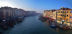 The grand canal from the Rialto Bridge (Alexandre Moreau | Photography) Tags: morning bridge blue venice winter light sky italy panorama sun architecture buildings golden canal view wide relaxing sunny grand panoramic calm fromabove venise grandcanal rialto
