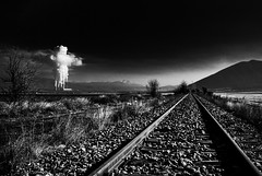 kk194 (KouKon) Tags: bw white black abandoned electric train landscape photography smoke hellas environmental explore greece pollution rails electricity environment dei infection contagion contamination defilement egnatia kozani ptolemaida egnatiaodos thermoelectricplants
