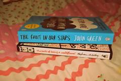 DSC_0072 (amy-3110) Tags: photography reading personal books johngreen theperksofbeingawallflower stephenchbosky thefaultinourstars