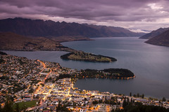 Queenstown at Dusk (Kokkai Ng) Tags: sunset newzealand lake night clouds dark town twilight purple cloudy dusk overcast stormy illuminated southisland otago queenstown gondola remarkables lakewakatipu bobspeak