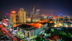 Downtown-Bangkok-City-Lights-at-Pantip-Plaza-Aerial-View
