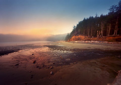 Shortly coming, quickly going (Zeb Andrews) Tags: ocean sunset film beach oregon analog colorful northwest lofi pinhole pacificocean pacificnorthwest oregoncoast westcoast impressionistic innova oswaldweststatepark shortsands gowest bluemooncamera woodencameras innova6x9