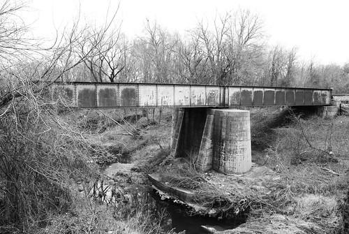 Steel Girder Bridge, Union Pacific Railroad over Tehuacana Creek, Mexia, Texas 1301281216BW
