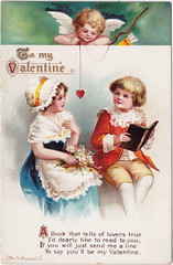 ELLEN CLAPSADDLE CUPID ANGELS PASSION CUTE VALENTINE KIDS A book that tells of Lovers TRUE - LOVE IS IN THE AIR International Art Card Series No 4657 (UpNorth Memories - Donald (Don) Harrison) Tags: vintage antique postcard rppc don harrison upnorth memories upnorth memories upnorthmemories michigan history heritage travel tourism michigan roadside restaurants cafes motels hotels tourist stops travel trailer parks campgrounds cottages cabins roadside entertainment natural wonders attractions usa puremichigan