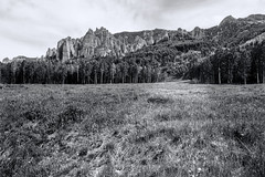 Path to the Cimmarons (Scosanf) Tags: mountains rockymountains sanjuanmountains grass landscape dodge burn blackandwhite bw monochrome outdoor nature sky clouds travel trip vacation summer canon eos ef2470mmf28lusm 6d topazlabs colorado coloradotrails offroad camping