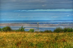 Taken in North Wales, looking out over the Wirral Penninsular with Blackpool tower behind and the South lakes behind that. Around 75 miles as a crow flies. (pdean1) Tags: 75mile amazingview scenic wirral blackpool lakedistrict windfarm