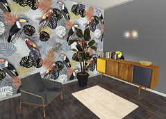 Tropical_Toucan_wallpaper_Mockup (vannina_sf) Tags: wallpaper tropical tropics jungle forest parrot toucan bird leaf leaves plant nature palm tree home design interior deco room spoonflower furnitures