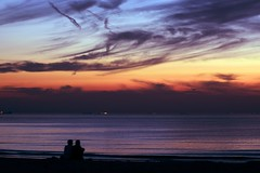 Heatwave in the Netherlands. Still 25 C in the evening. (lindaouwehand) Tags: nature beach sea romance sunset night evening heatwave netherlands couple love romantic summer 2016
