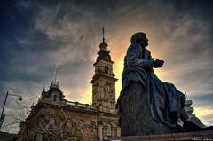 It's just a matter of time (Kevin_Jeffries) Tags: statue dunedin robertburns poet heritage townclock octagon jeffries city light newzealand nikon