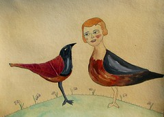 Esme and Mimi Tell Stories on the Hilltop (Fauna Finds Flora) Tags: bird girl birdgirl hill face acrylic leaf pressedleaf pressedplant mixedmedia story narrative characters red orange black whimsical art nature illustration faunafindsflora