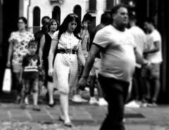 SHY LADY (marcobertarelli) Tags: lady man portrait people folks bw contrast light shadow shy hidden look expressions city ordinary life go direction anywhere