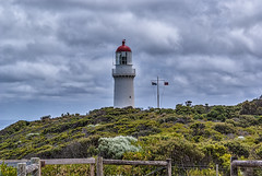 Cape Schanck Lighthouse. (gecko47) Tags: light lighthouse beacon navigationalaid warning headland cliff capeschanck victoria morningtonpeninsular bassstrait westernport coastalvegetation fence