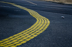 yellow brick road :: beer version (dotintime) Tags: yellow brick road pavement paint design whimsy fun play wave waver wiggle sway twist turn beer can litter dotintime meganlane