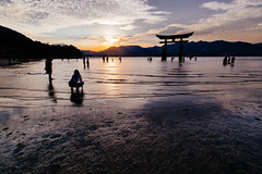 Itsukushima shrine. The floating Torii (Danzorg) Tags: waterscape miyajima seascape sunset summer float shrine itsukushima torii landscape 2016 japan xt10