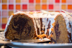 Cake (Pittypomm) Tags: pumpkin chocolate marble bundt cake glaze tiles crosssection cut sliced