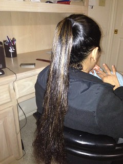 Oiled ponytail by hairchick82