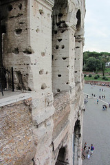 Holes from Where the Marble was Attached (Jocey K) Tags: people italy rome building stone architecture fence design bricks amphitheatre arches holes colosseum walkway coliseum cosmostour6330