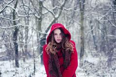 (Sarah-Louise Burns) Tags: winter red snow contrast scarf vintage season bright time little bokeh coat seasonal riding hood snowing wonderland
