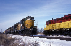 Something Old in the Snow (IndustRail) Tags: snow 1992 wi meet freighttrain kewaskum gp7 sd24 foxrivervalleyrailroad frvr